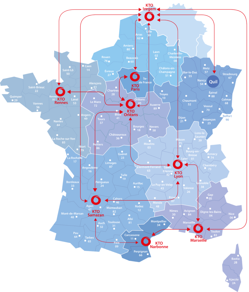 Logistics network of KTO in France and Belgium